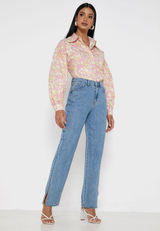 High Waist Split Hem Wide Straight Jeans