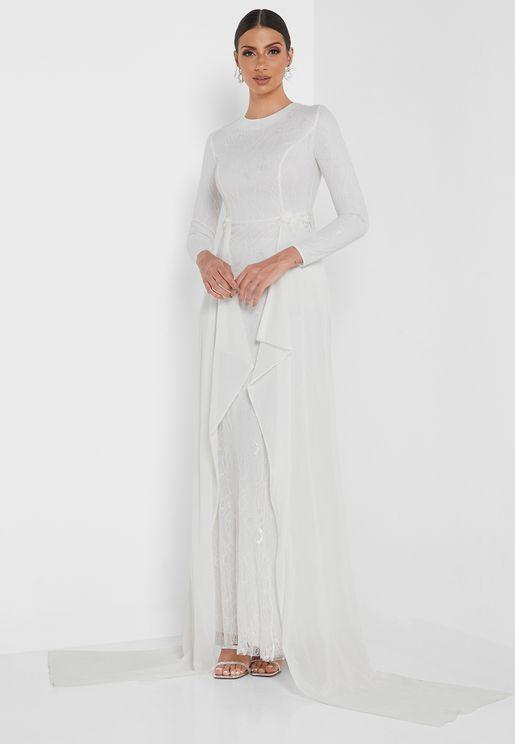 High Neck Asymmetric Dress