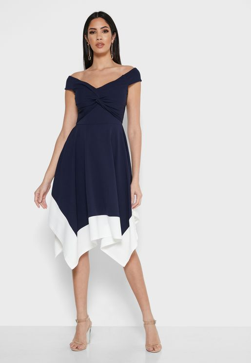 Asymmetric Bardot Dress