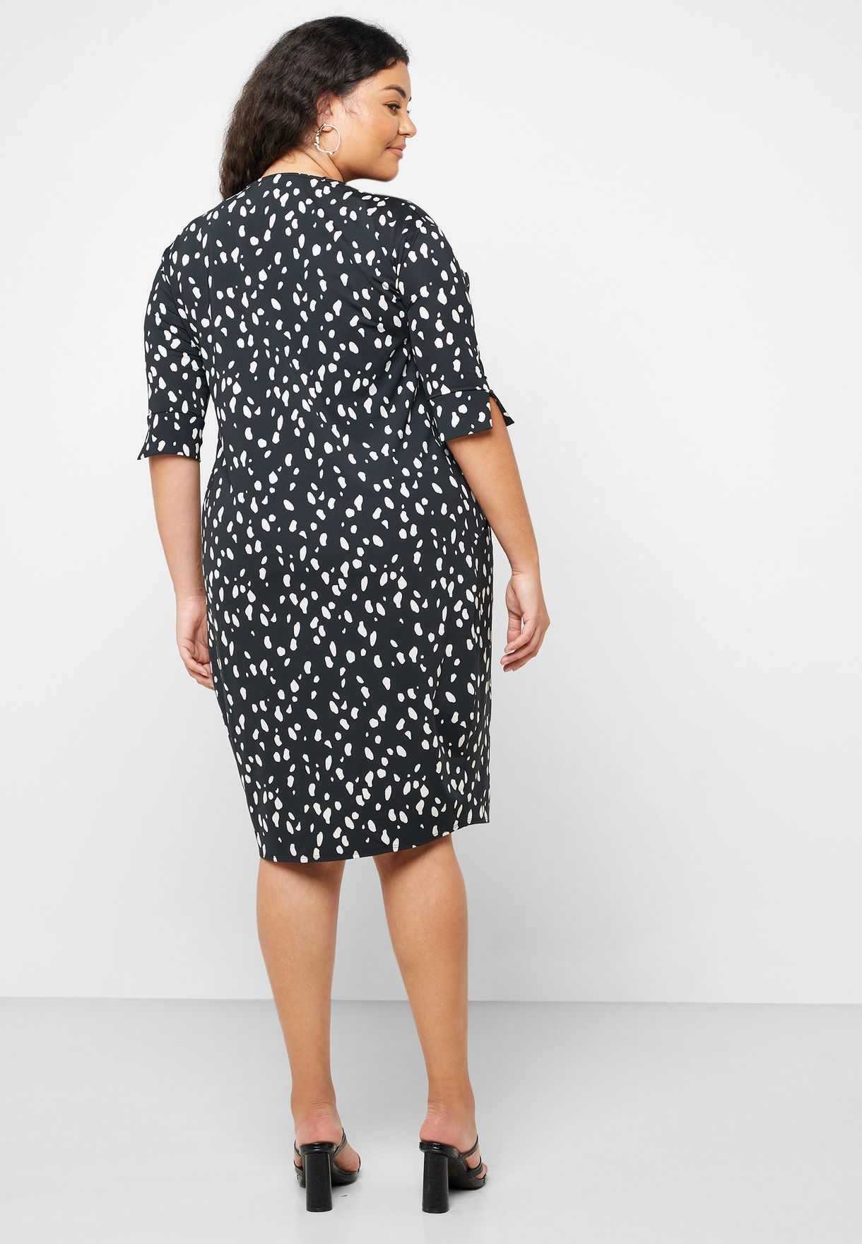 Printed Roll Sleeve Dress