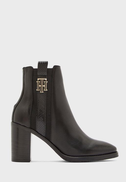 Interlock High Heel Ankle Boot