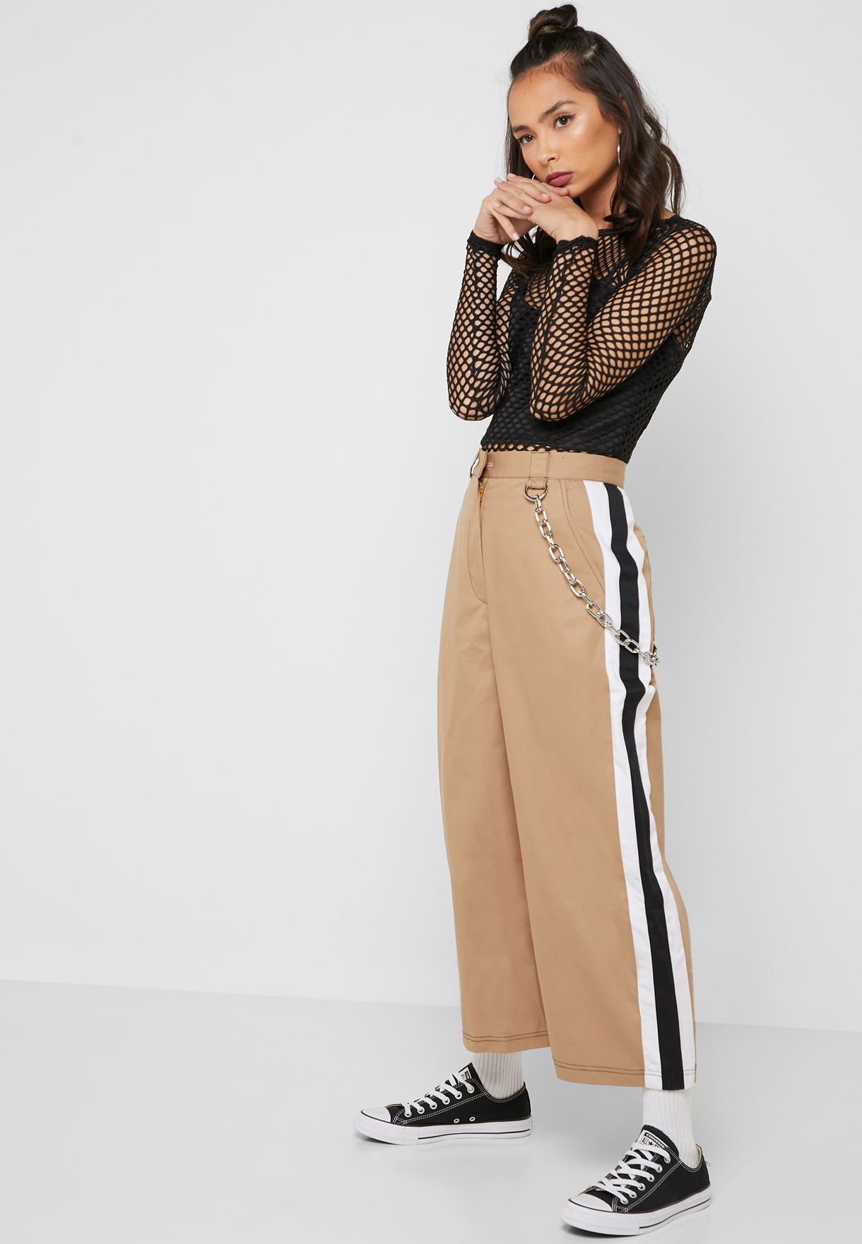 Side Striped Cropped Wide Leg Pants