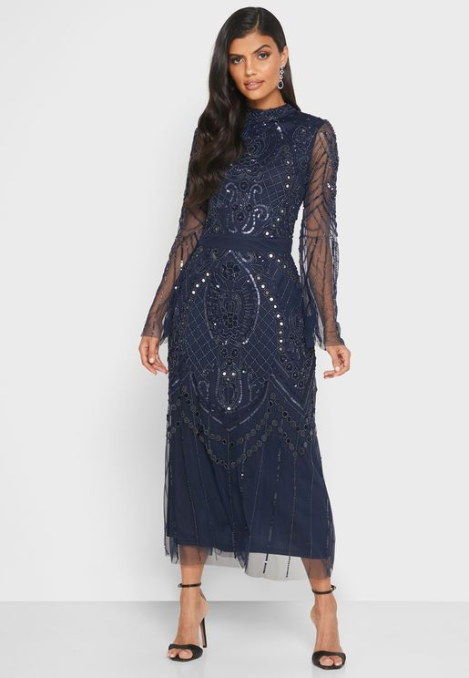 Mesh Sleeve Sequin Dress