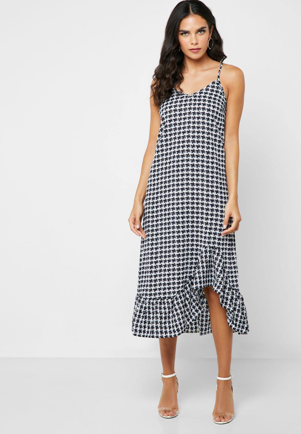 Checked Ruffle Hem Dress