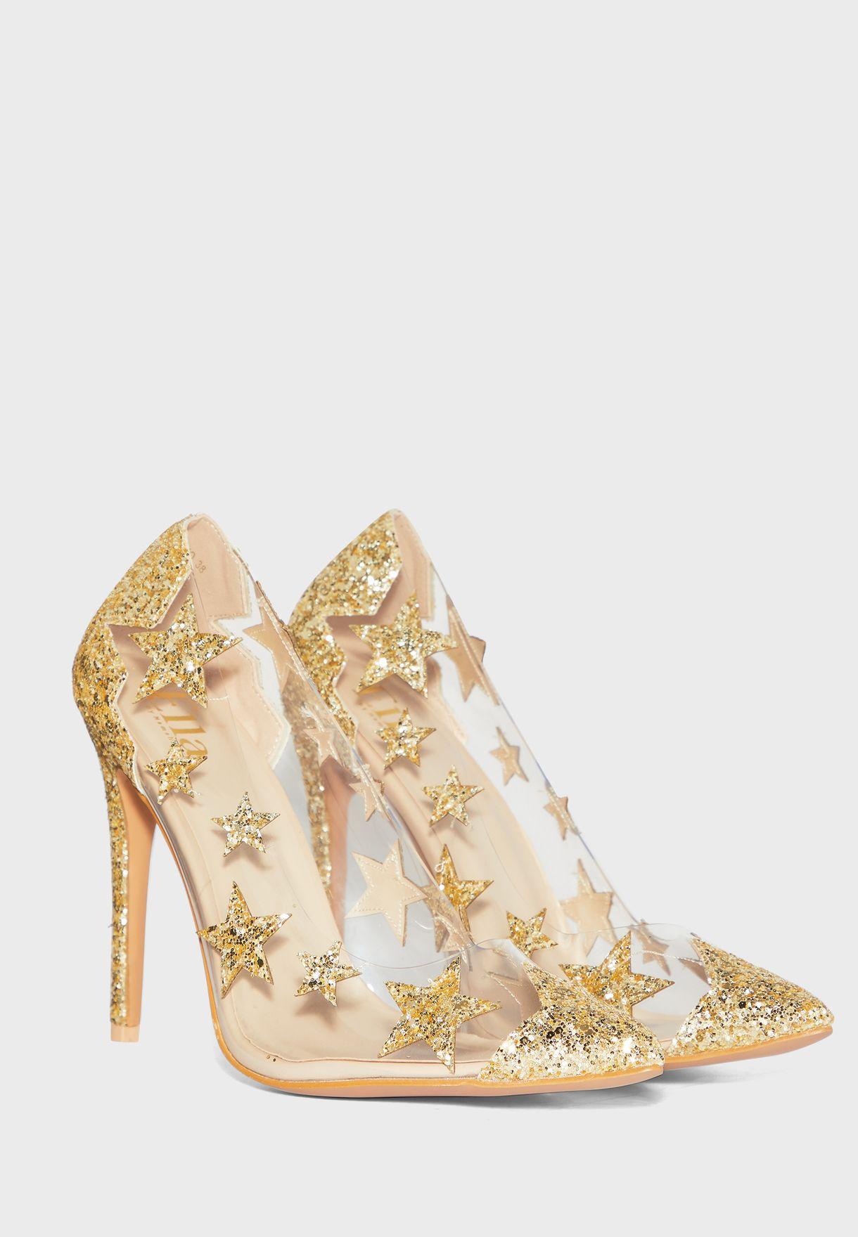 حذاء شفاف ذو كعب عالي مرصع بنجوم