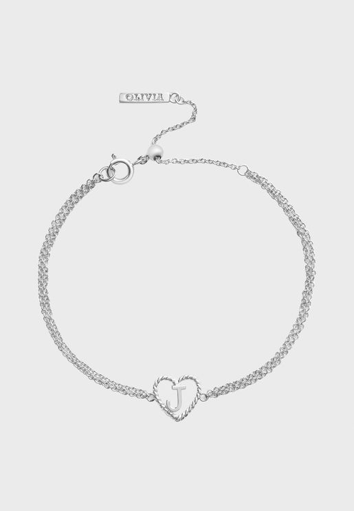 OBJIHBJ01 Heart Initial Chain J-Charm Bracelet