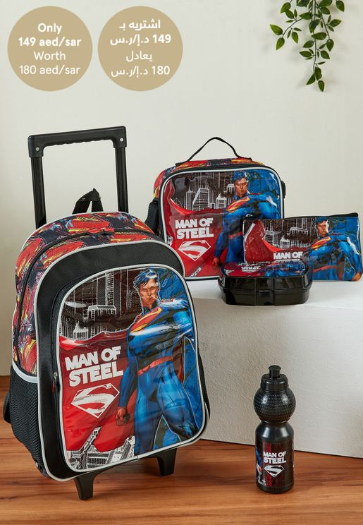 Superman School Trolley Bag Set