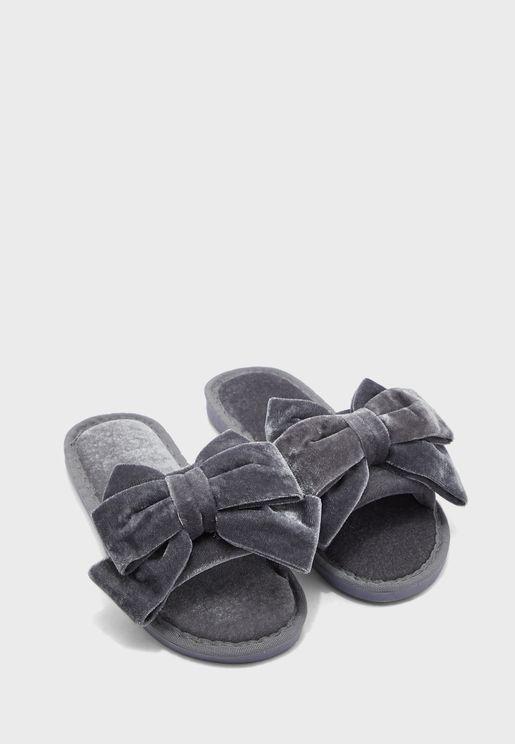Velvet Bow Open Toe Bedroom Slippers