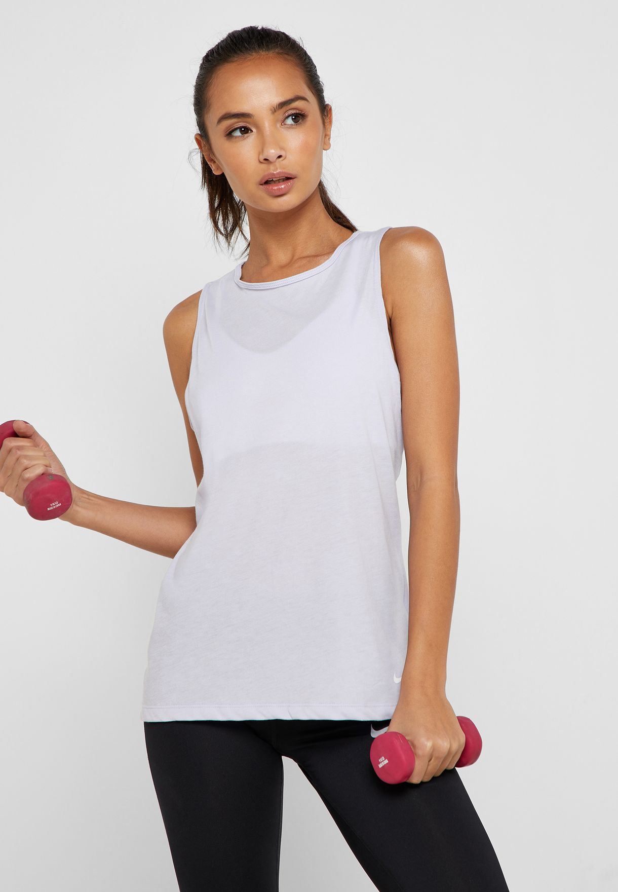 26a517cd00f798 Shop Nike purple Dri-FIT Studio Open Back Tank AO9805-508 for Women ...