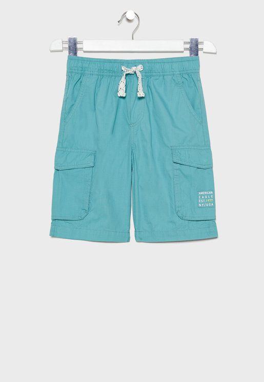 Kids Tie Waist Cargo Shorts