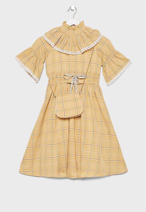 Kids Ruffle Neck Dress