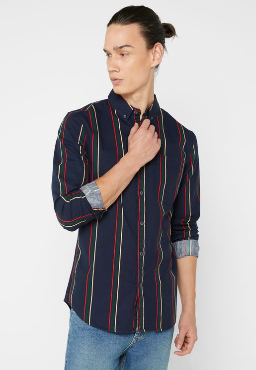 Washed Twill Striped Shirt