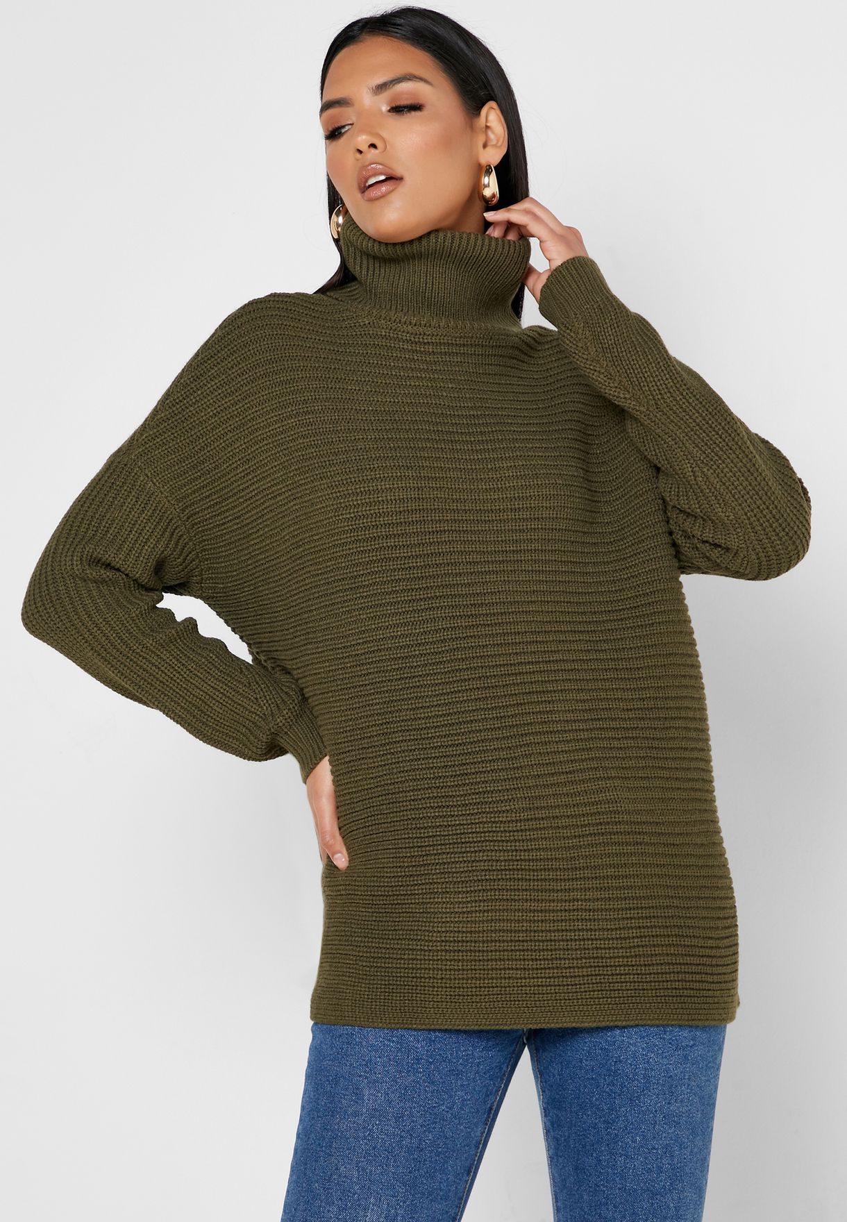 Turtleneck Ribbed Sweater