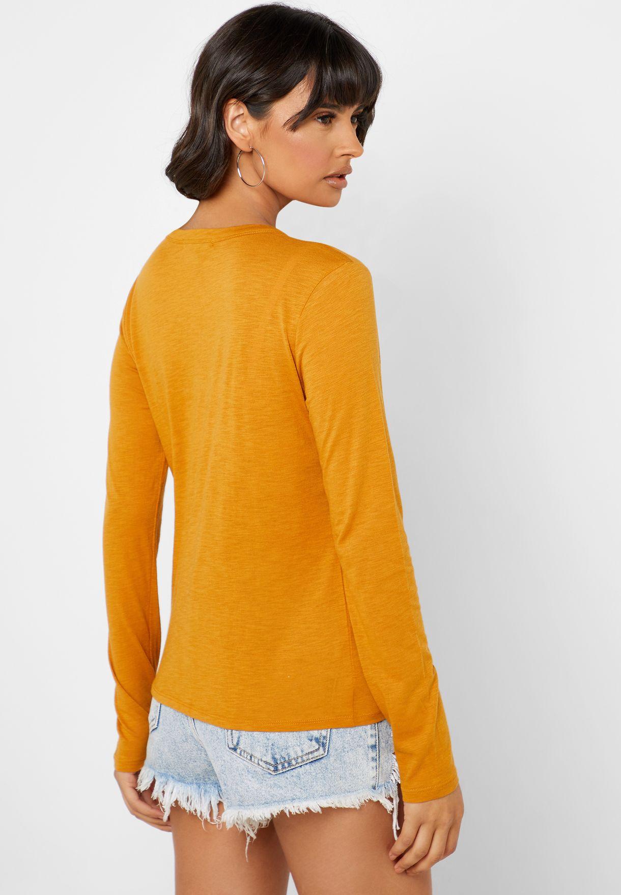 Pocket Detail Long Sleeve T-Shirt