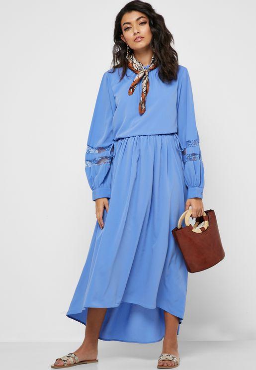 Lace Insert Keyhole Dress
