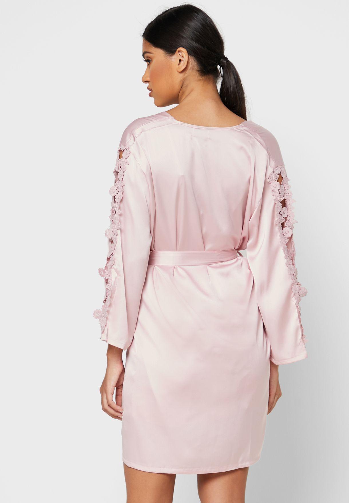 2 In 1 Flower Applique Nightdress Robe