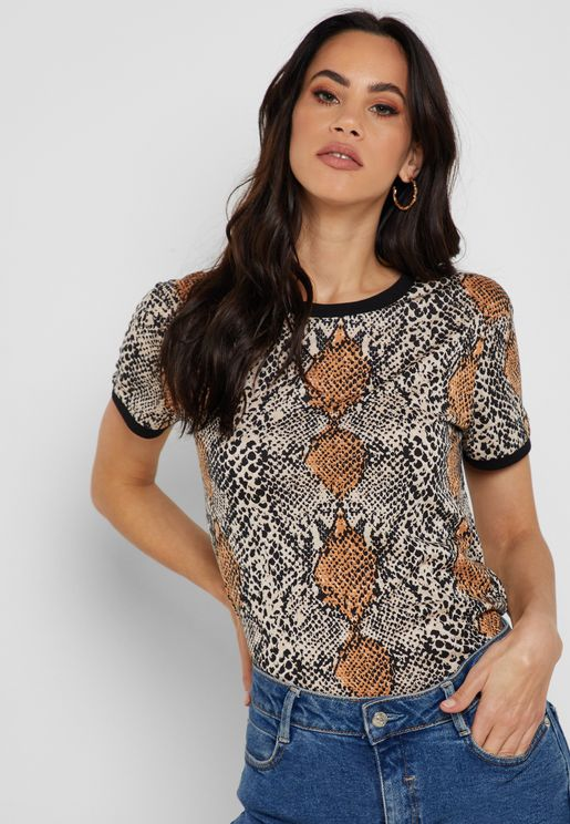 Snake Print Short Sleeve T-shirt