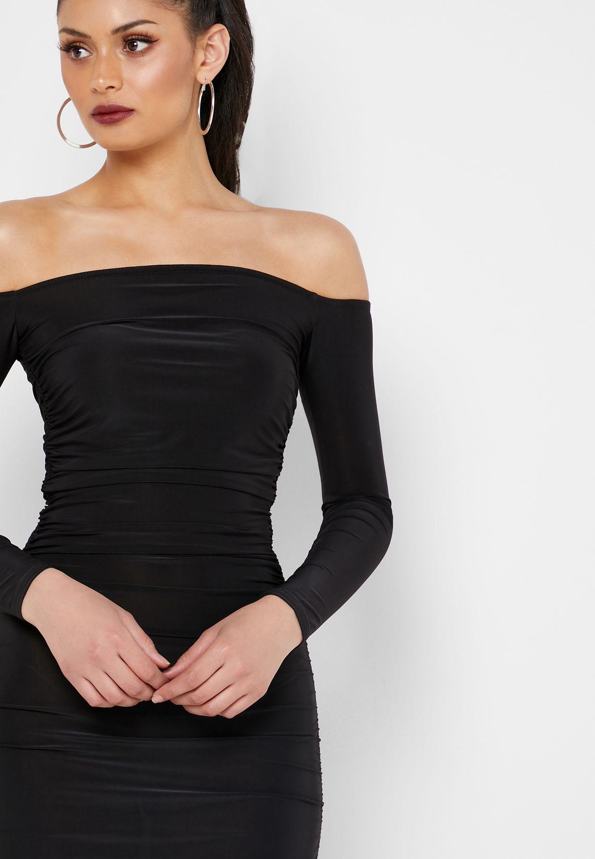 Missguided Bardot Ruched Detail Dress - Women Clothing gaByR