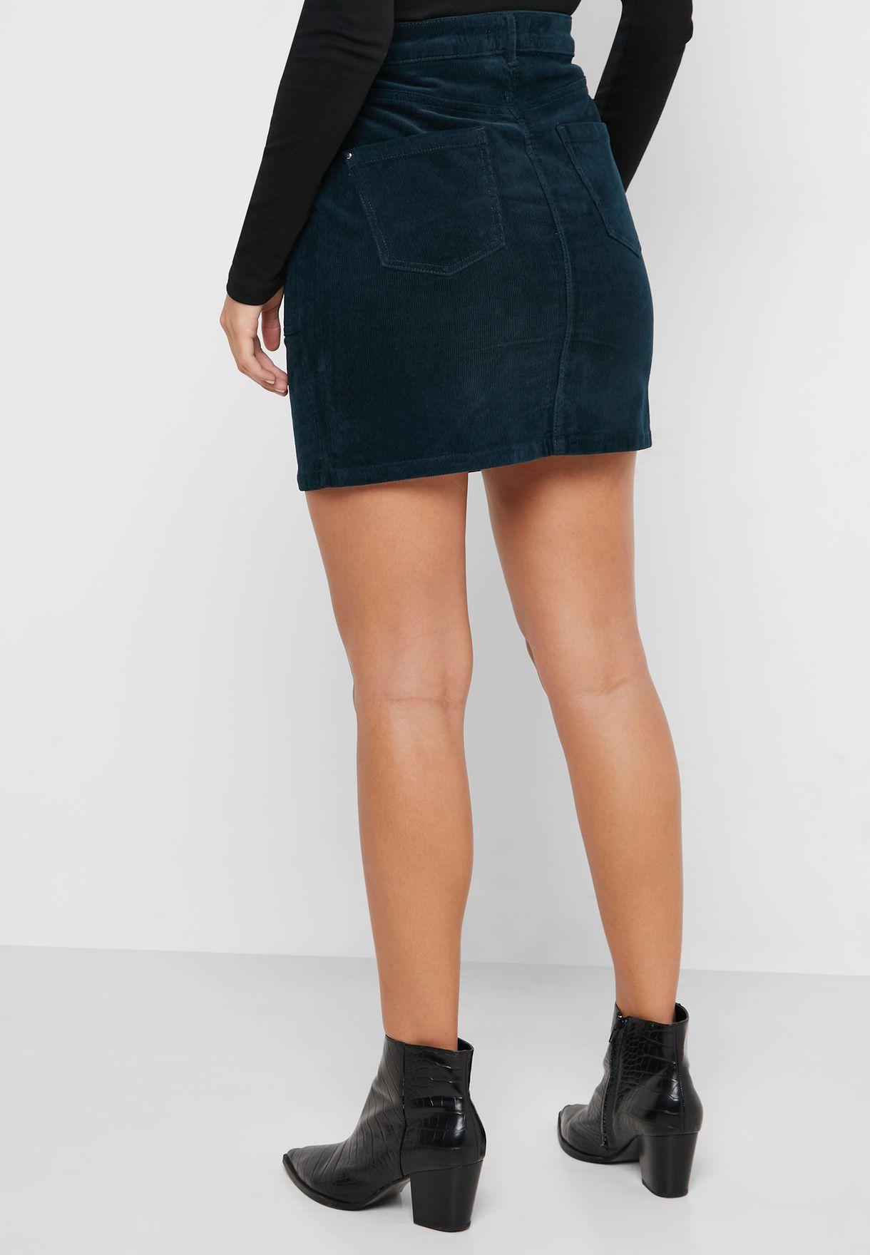 High Waist Pocket Detail Skirt