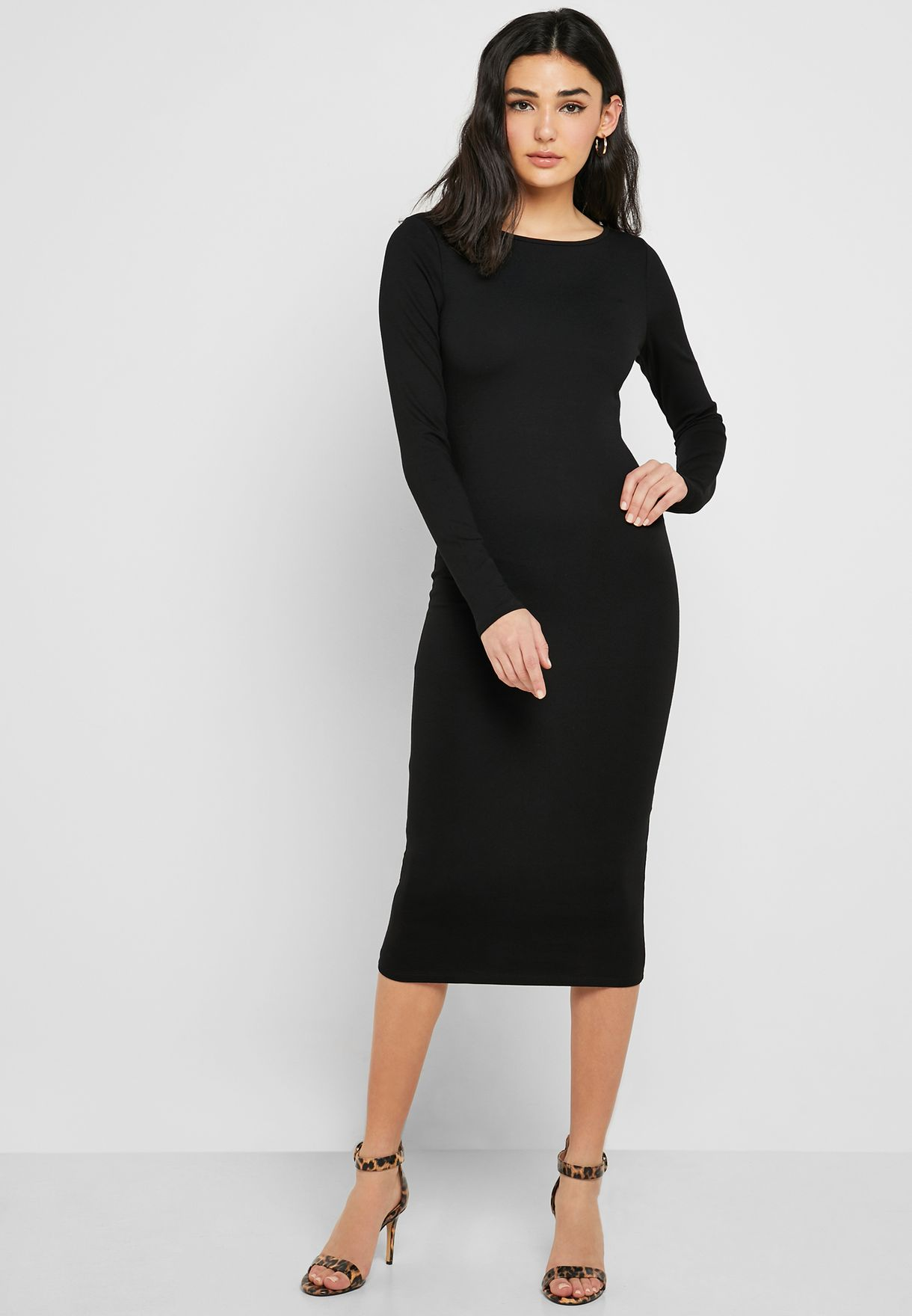 Shop Forever 21 Black Long Sleeve Bodycon Dress 327491 For