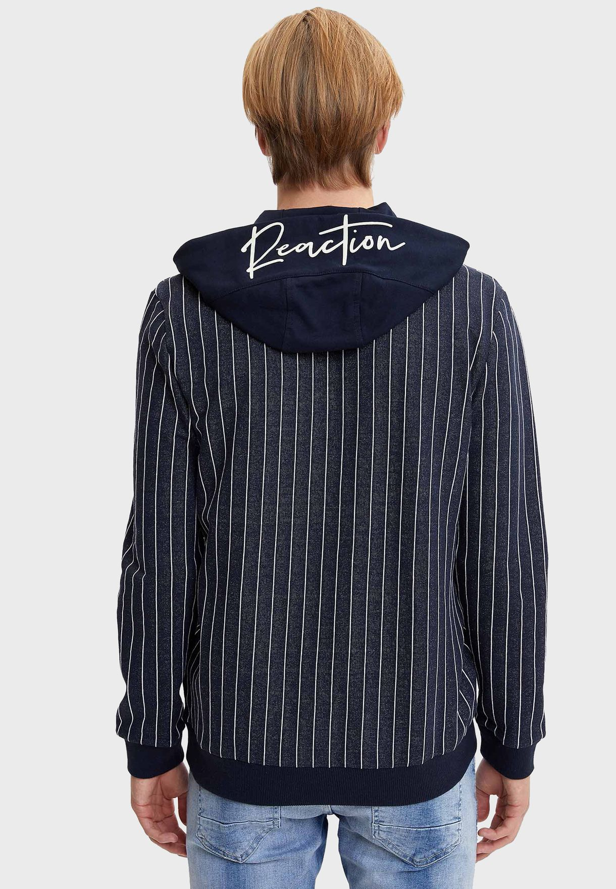 Striped Zip Through Hoodie