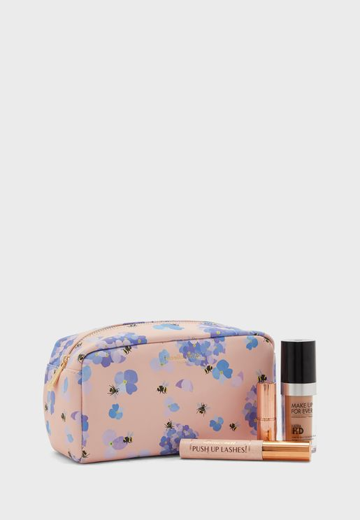 Bee & Hydrangea Printed Cosmetic Bag