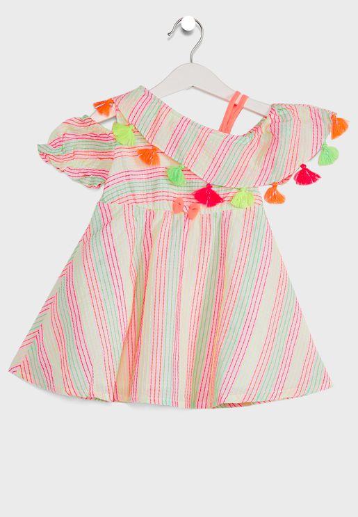 Off- Striped A-Line Dress