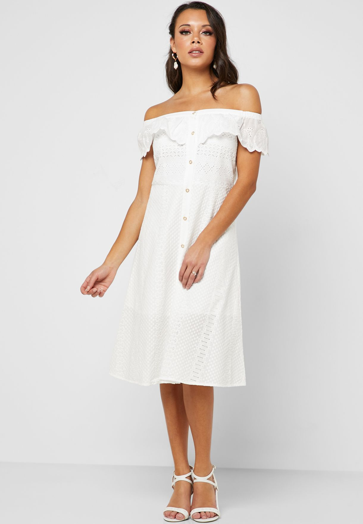 Bardot Button Detail Dress