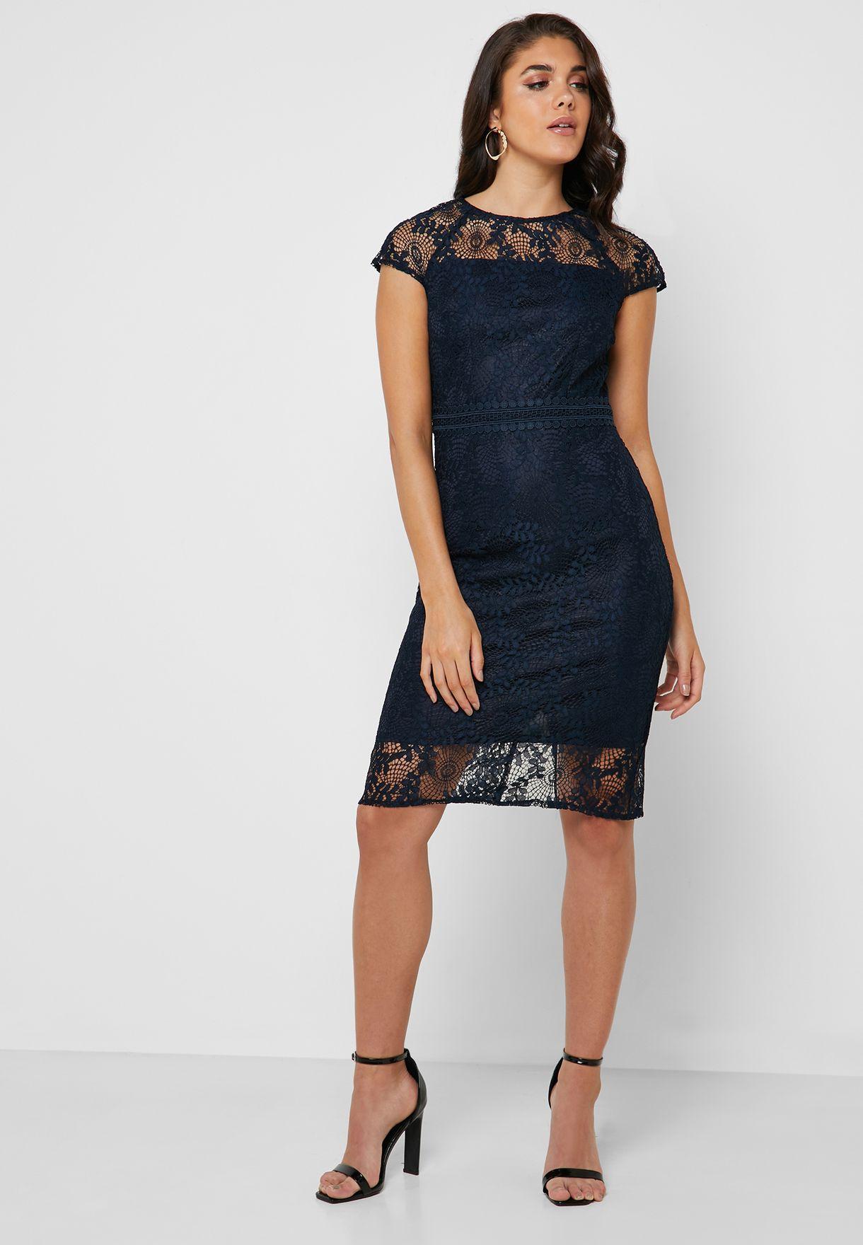 Lace Short Sleeve Dress