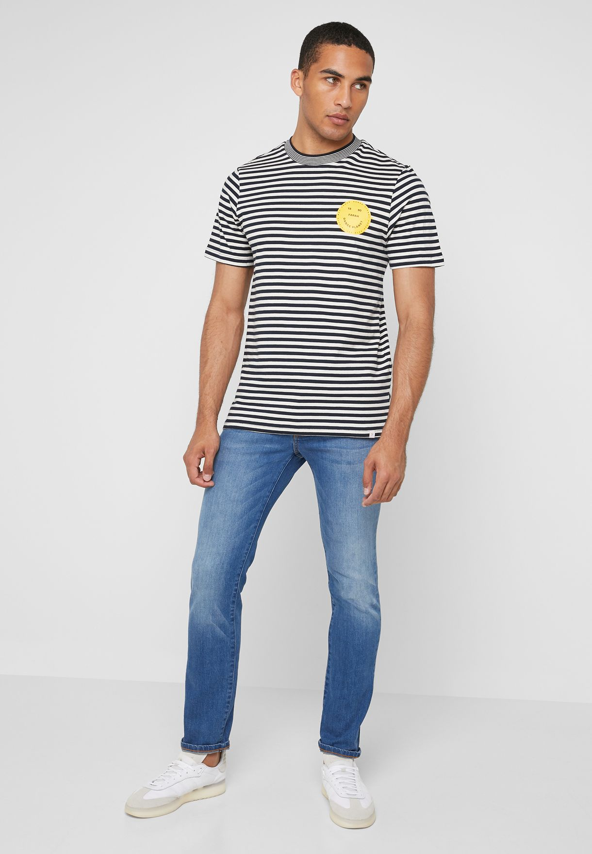 Striped Smiley Crew Neck T-Shirt
