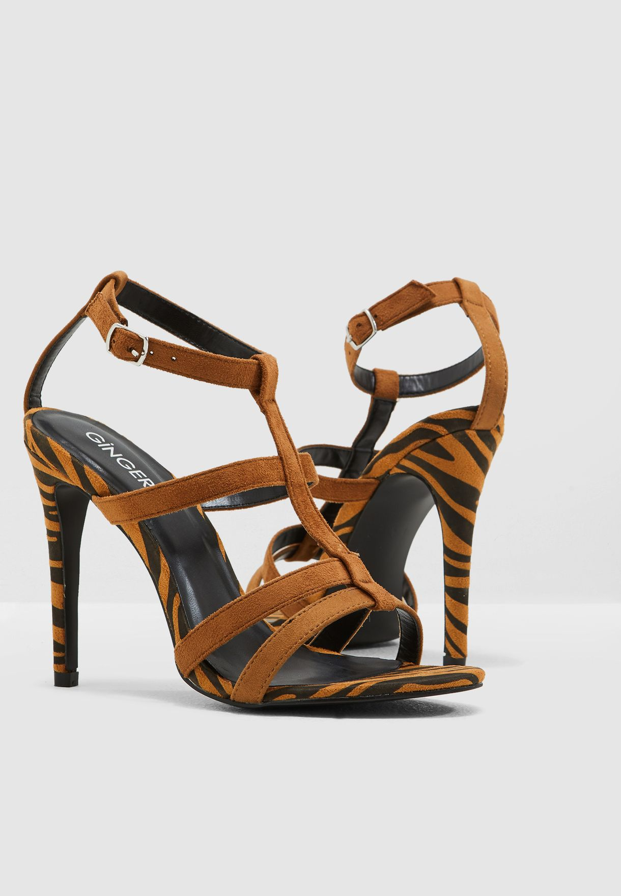 cbd770fc1c8 Shop Ginger Brown Contrast Caged Heeled Sandal In Multi Animal Print ...
