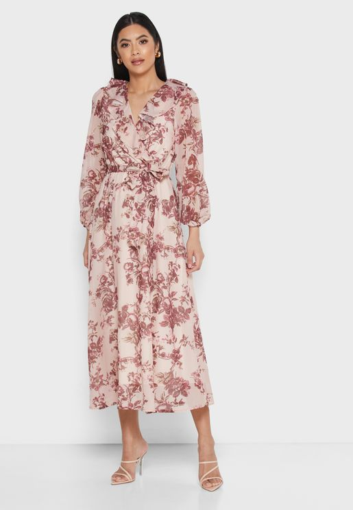 Floral Print Wrap Front Ruffle Midi Dress