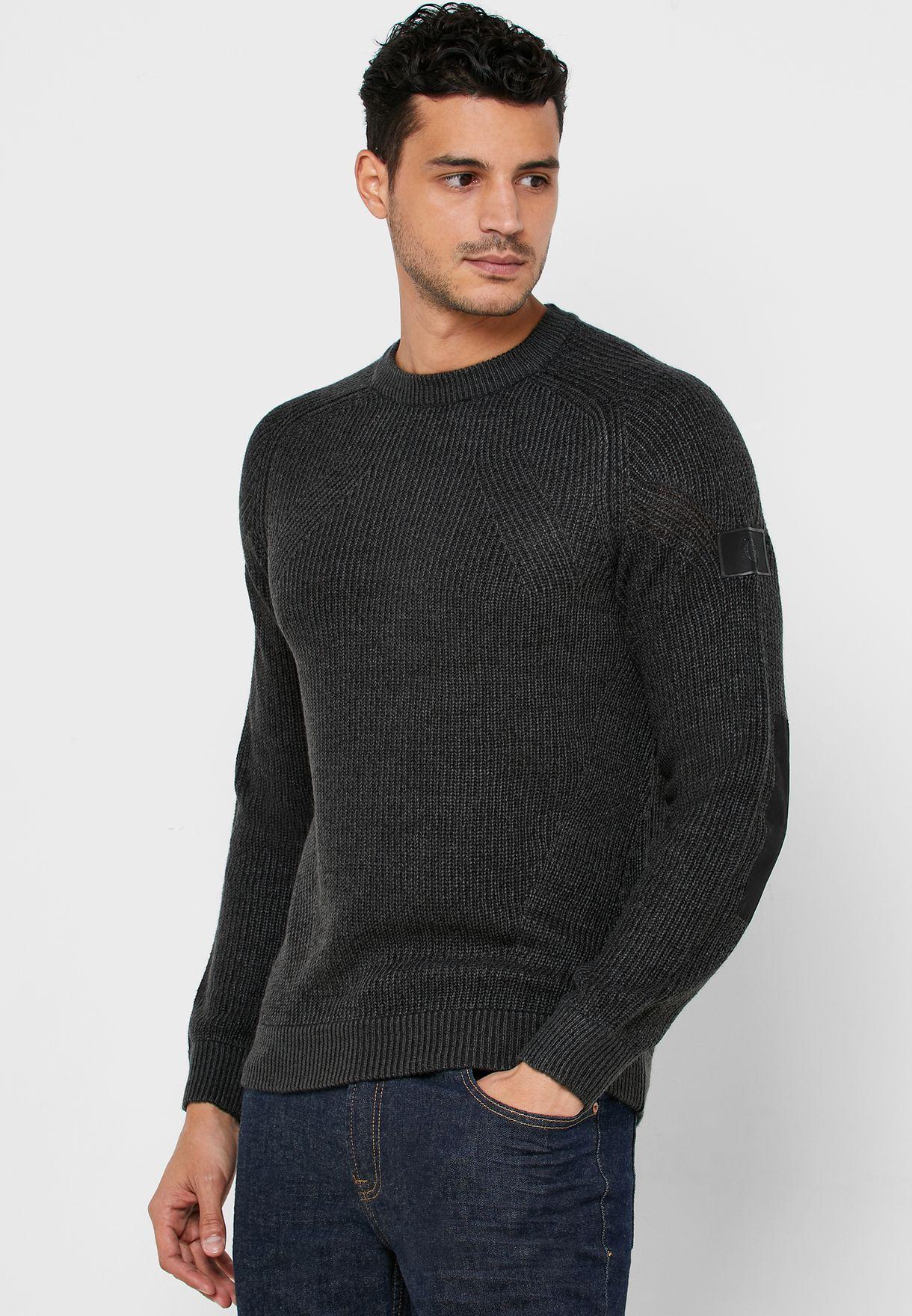 Charcoal Rib Badge Sweater
