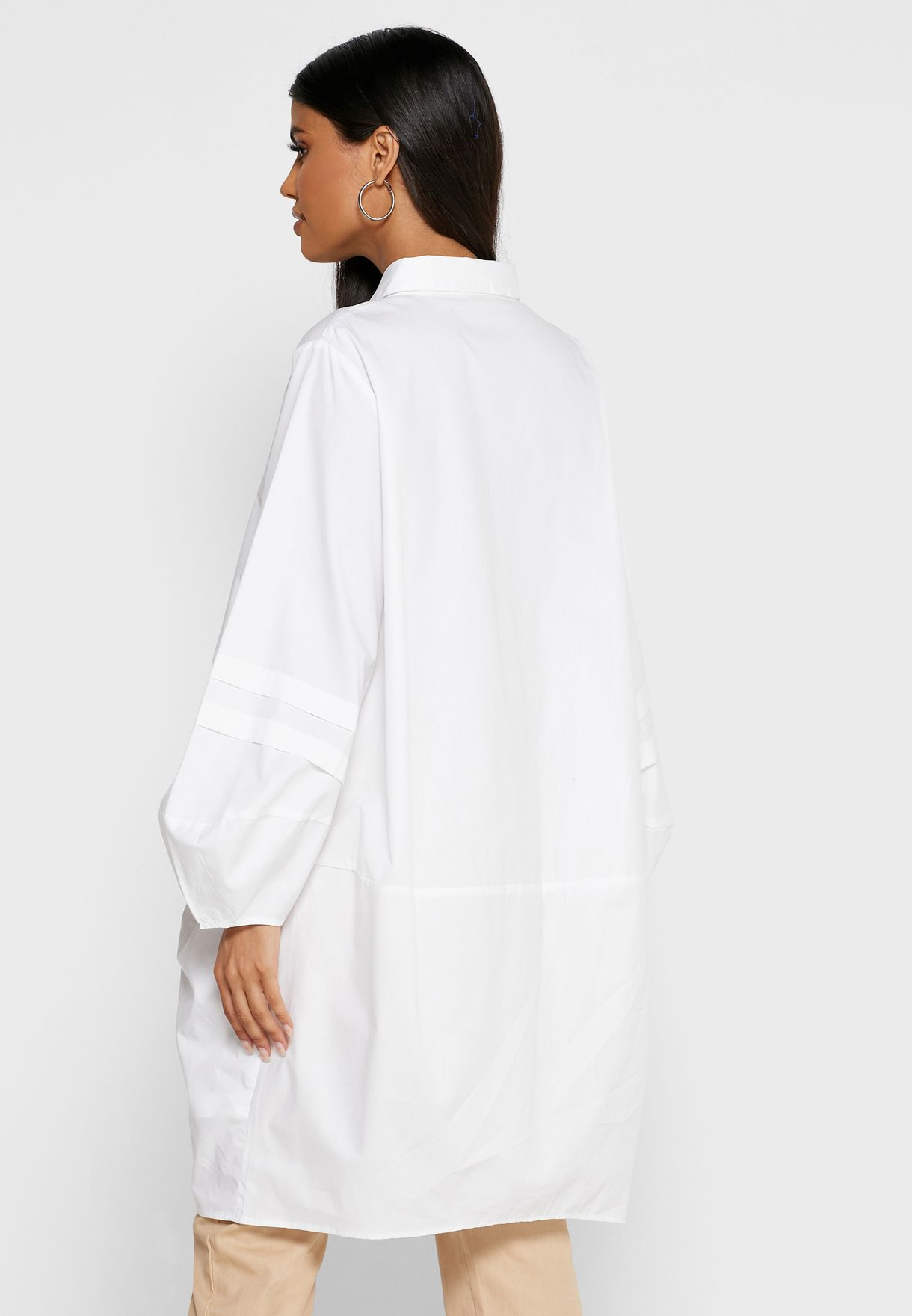 Embroidered High Low Longline Shirt