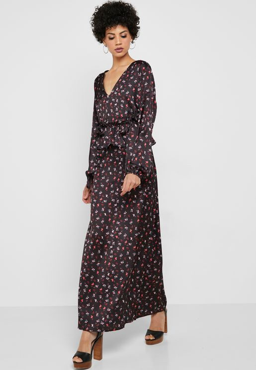 Ditsy Print Maxi Dress
