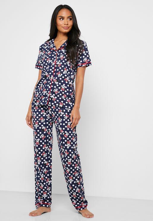Printed Button Down Shirt & Pyjama Set