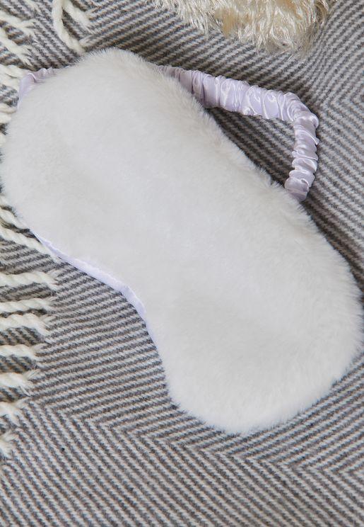 White Faux Fur Eye Mask