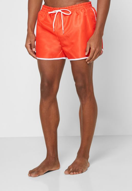Contrast Piping Swim Shorts