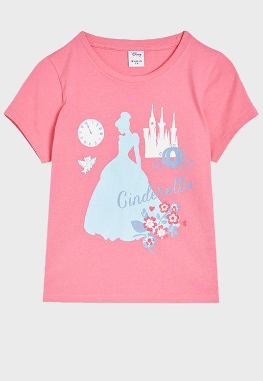 Kids Cindrella Print T-Shirt