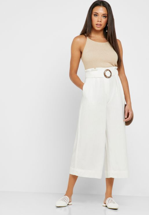 Buckle Detail High Waist Culottes Pants
