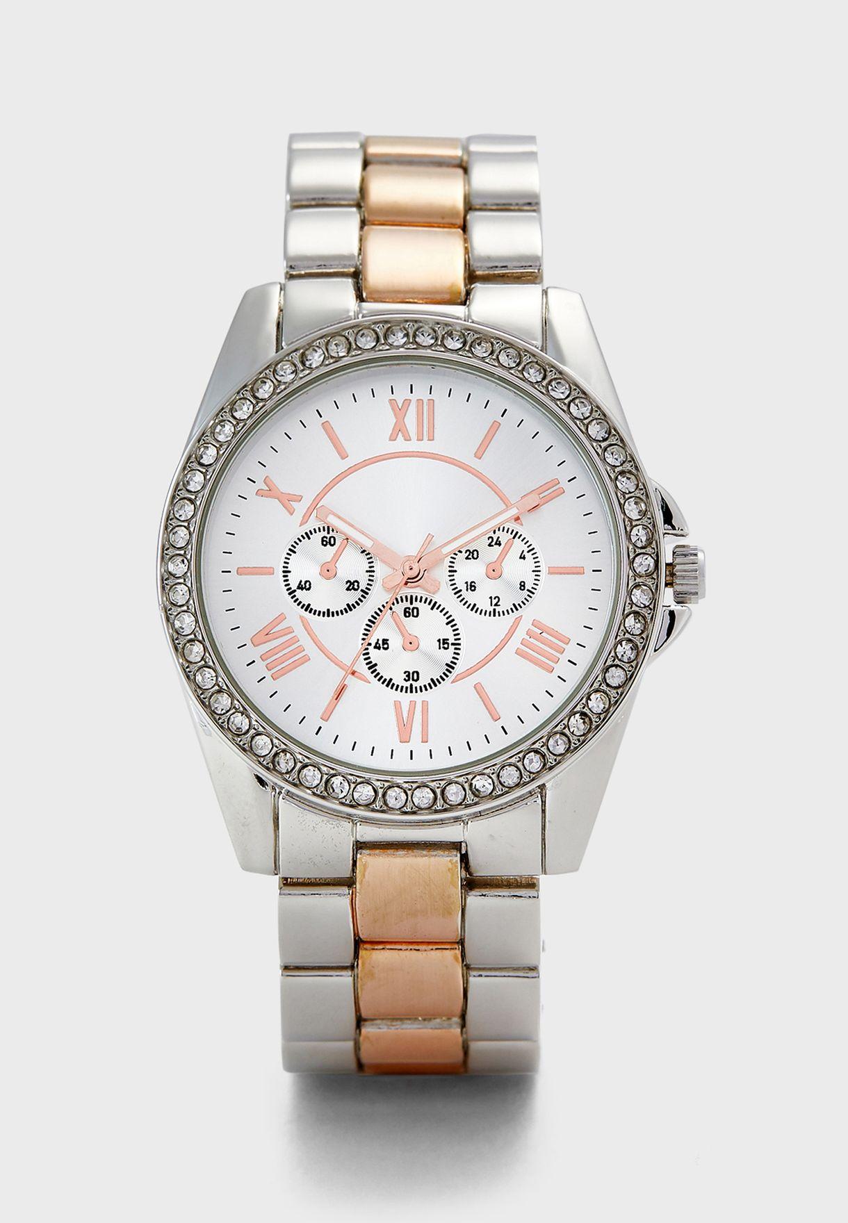 Large Stone Set Bracelet Watch