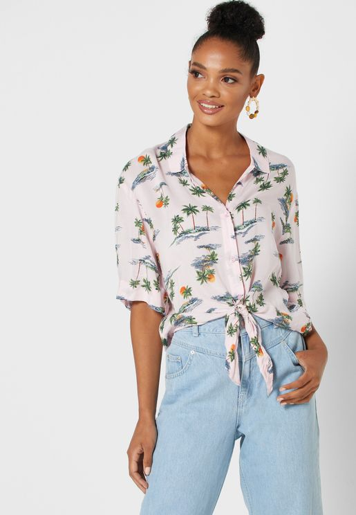 Tie Waist Tropical Print Shirt