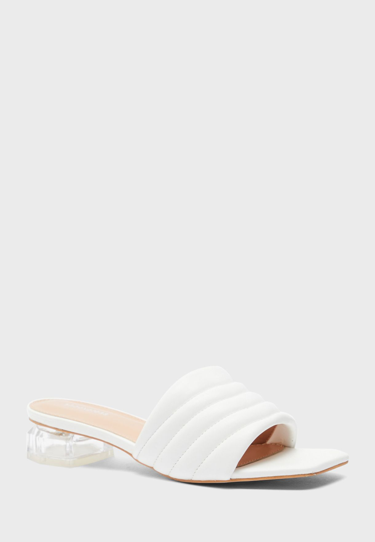 Wide Strap Mid Heel Sandals