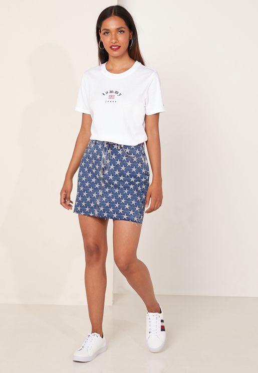 Star Print Denim Skirt