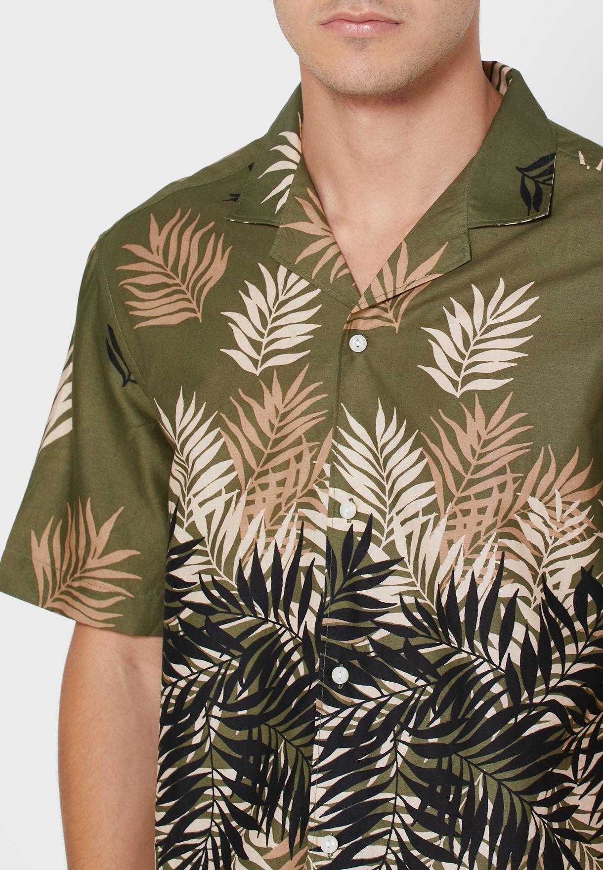 Leaf Print Slim Fit Shirt