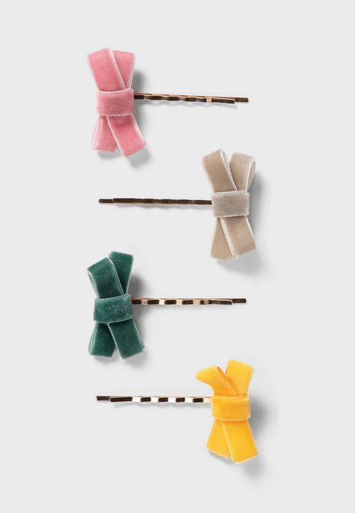 Kids 4 Pack Bow Detail Hairclip