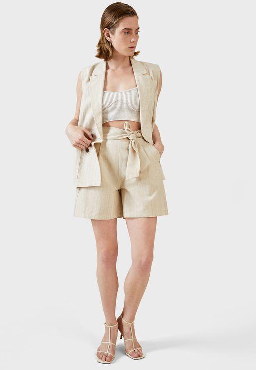 High Waisted Belt Detail Mini Shorts