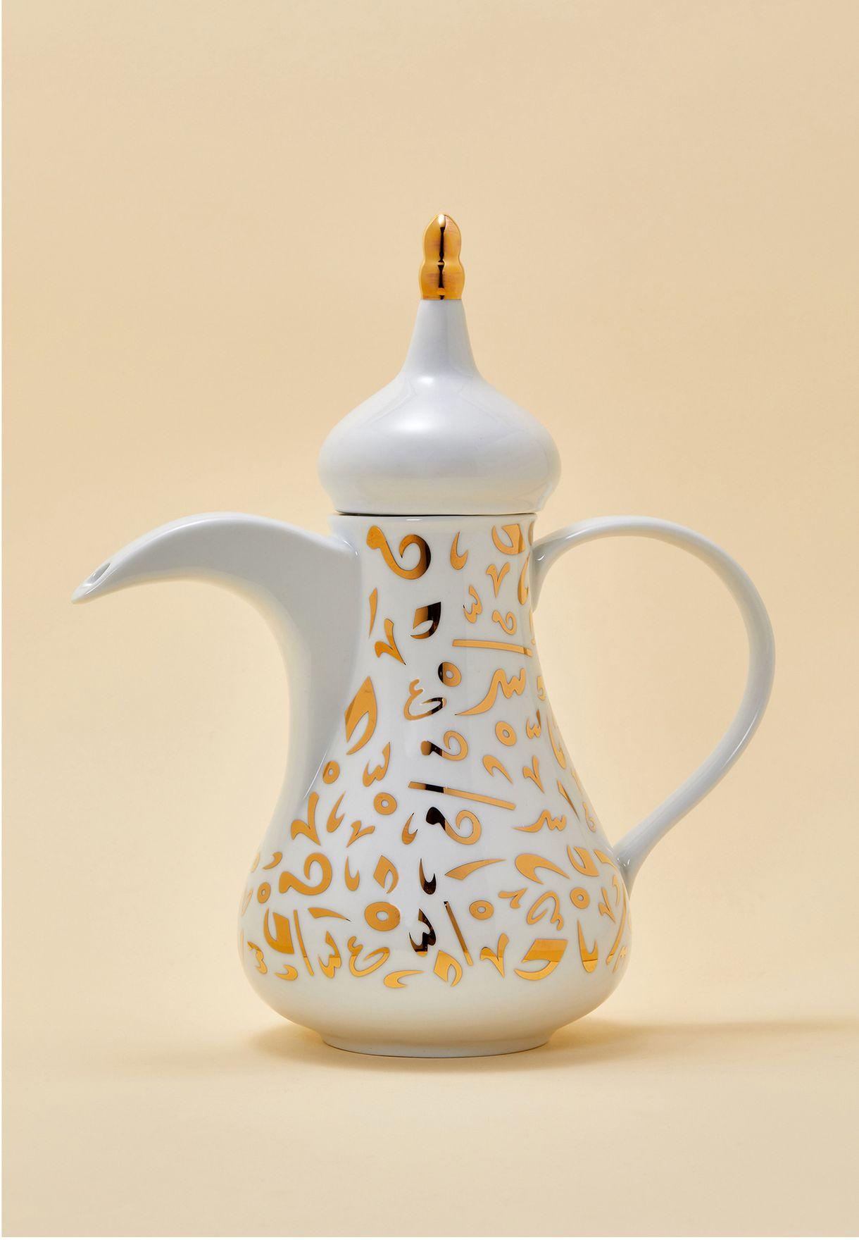 دلة قهوة عربي مزينة بذهب 22 قيراط