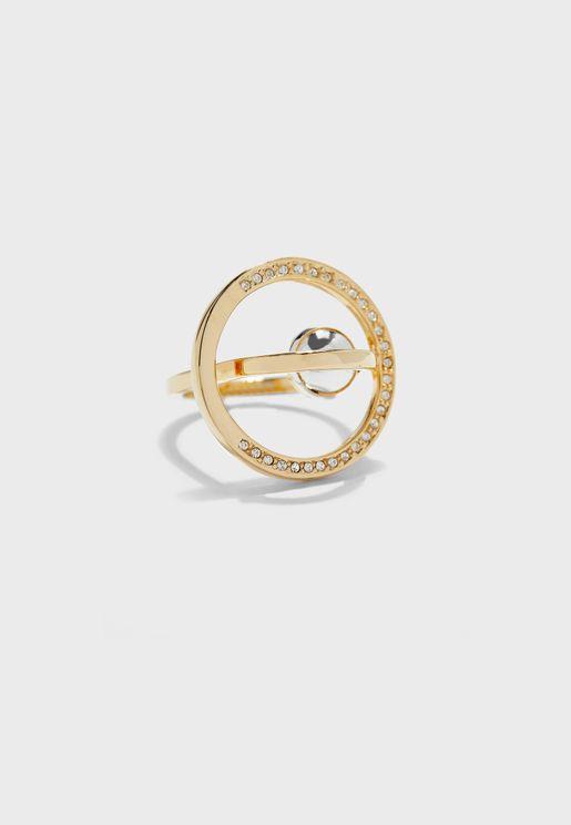 Metal Bead Detail Studded Ring