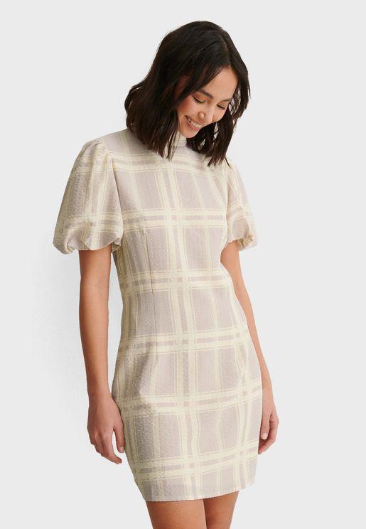 High Neck Check Mini Dress